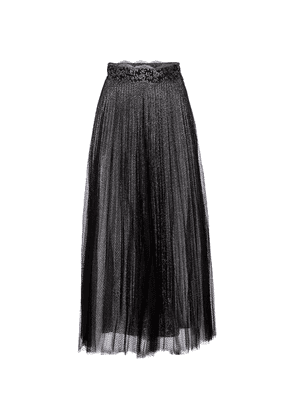 Pleated metallic tulle maxi skirt