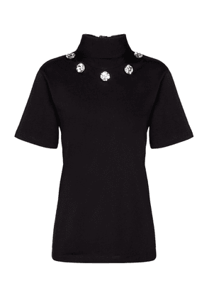 Embellished tie-neck cotton top