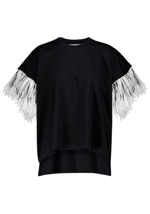 Feather-trimmed cotton T-shirt