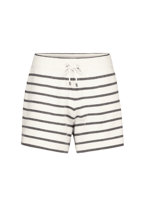 Striped wool, cashmere and silk shorts