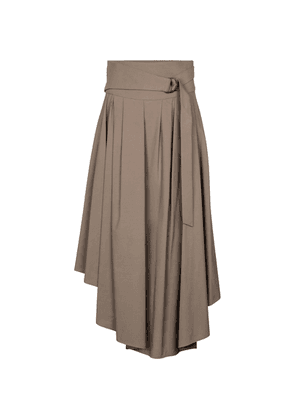 Pleated cotton midi skirt
