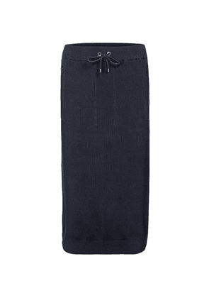 Ribbed-knit cotton midi skirt