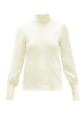 Ami - High-neck Crepe Blouse - Womens - Ivory
