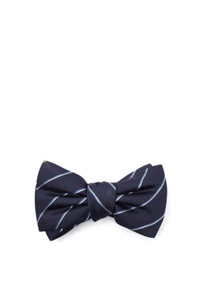 Alexander Mcqueen - Striped Silk-jacquard Bow Tie - Mens - Dark Navy