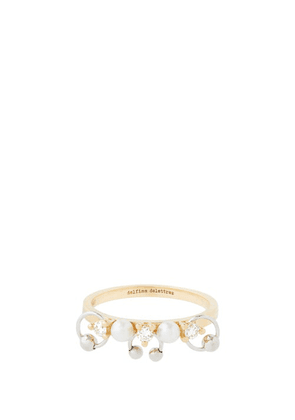 Delfina Delettrez - Two In One Diamond, Pearl & 18kt Gold Ring - Womens - Pearl