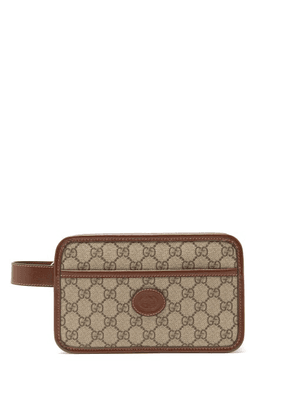 Gucci - Leather-trimmed Gg Supreme Wash Bag - Mens - Beige