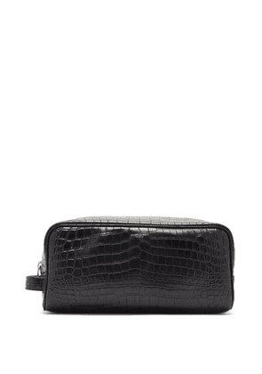 Saint Laurent - Logo-print Crocodile-effect Leather Wash Bag - Mens - Black