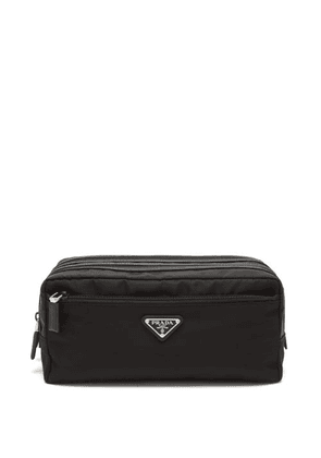 Prada - Triangle Logo-plaque Zip-pocket Nylon Wash Bag - Mens - Black