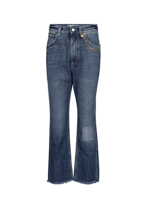 Chain-trimmed cropped straight jeans