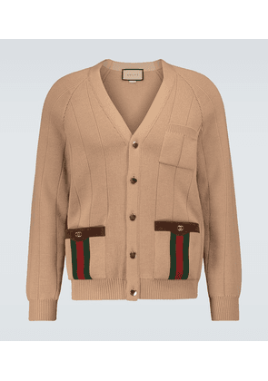 Knitted wool-blend cardigan with Web