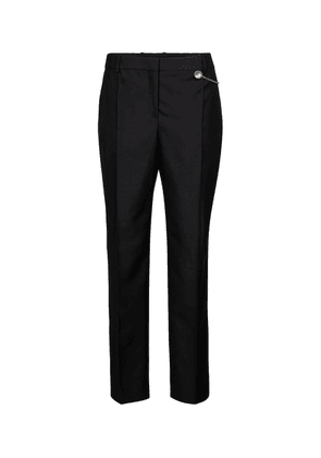Chain-trimmed wool cigarette pants