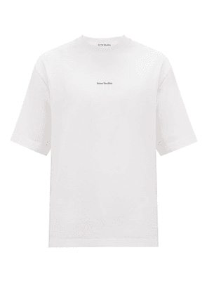 Acne Studios - Extorr Embroidered-logo High-neck Cotton T-shirt - Mens - White