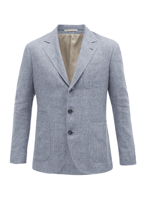 Brunello Cucinelli - Patch-pocket Single-breasted Blazer - Mens - Light Blue