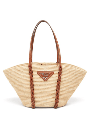 Prada - Leather And Woven-straw Basket Bag - Womens - Multi