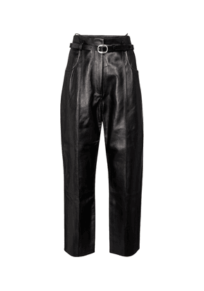 Pollis B belted high-rise leather pants
