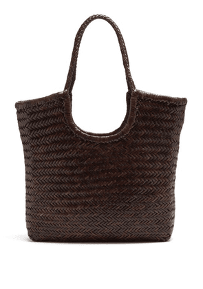 Dragon Diffusion - Triple Jump Woven-leather Basket Bag - Womens - Dark Brown