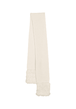 Faux fur, wool and cashmere scarf
