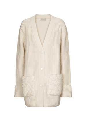 Faux fur, wool and cashmere cardigan