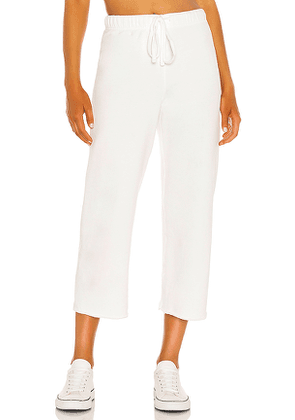 Frank & Eileen Cropped Wide Leg Sweatpant in White. Size S, XS, M.