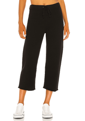 Frank & Eileen Cropped Wide Leg Sweatpant in Black. Size S, XS, M.