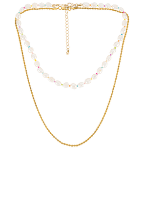 petit moments Rainbow Reign Necklace Set in Metallic Gold.