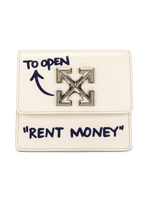 OFF-WHITE Quote Jitney 0.7 Bag in Cream.