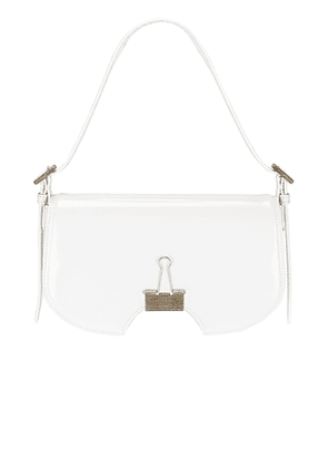 OFF-WHITE Mirror Swiss Flap Bag in White.