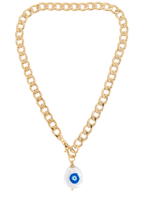 joolz by Martha Calvo Protect Your Energy Necklace in Metallic Gold.