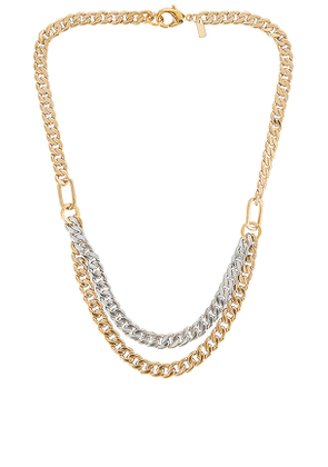 joolz by Martha Calvo Doubled Up Two Tone Curb Necklace in Metallic Gold,Metallic Silver.