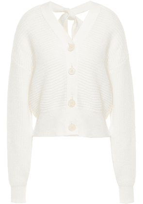 Adeam Bow-detailed Cutout Ribbed Cotton-blend Cardigan Woman Ivory Size L