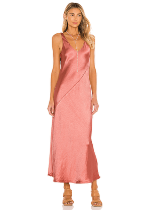 Line & Dot Loulou Satin Dress in Coral. Size M, S, XS.