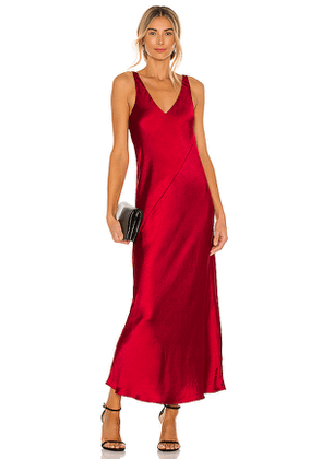 Line & Dot Loulou Satin Dress in Red. Size M, S, XS.