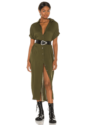 Indah Delphina Solid Button Up Mid Length Shirt Dress in Green. Size S/M, XS/S.