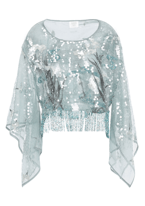 Anna Sui Fringed Embellished Tulle Blouse Woman Grey green Size S