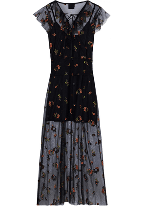 Anna Sui Lace-up Embroidered Tulle Midi Dress Woman Multicolor Size 4