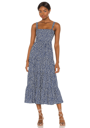 LIKELY Kimber Midi Dress in Blue. Size 00, 10, 2, 4, 6, 8.
