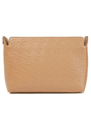 Burberry Embossed Leather Clutch Woman Camel Size --