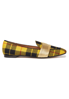 Aquazzura Metallic Faux Leather And Checked Twill Loafers Woman Yellow Size 37