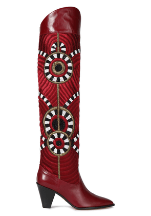 Aquazzura Balkan Embellished Leather Over-the-knee Boots Woman Claret Size 36