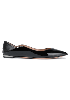 Aquazzura Zen Smooth And Patent-leather Collapsible-heel Point-toe Flats Woman Black Size 34