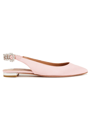 Aquazzura Portrait Of A Lady Crystal-embellished Grosgrain Point-toe Flats Woman Baby pink Size 35