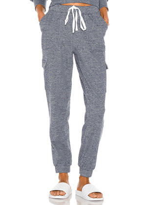 Bobi Cozy Heathered Knit Jogger in Navy. Size M, S, XS.