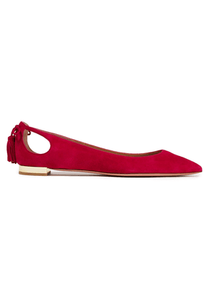 Aquazzura Forever Marilyn Cutout Suede Point-toe Flats Woman Magenta Size 40