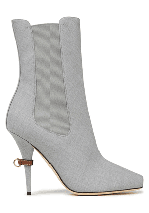 Burberry Wool-blend Twill Ankle Boots Woman Gray Size 35