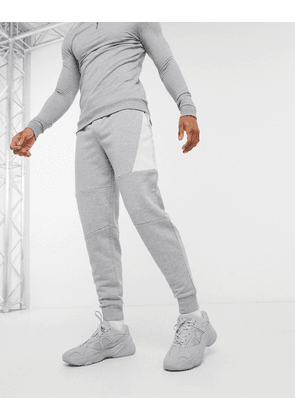 ASOS DESIGN co-ord tapered joggers with colour block panels in grey marl