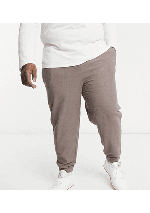ASOS DESIGN Plus co-ord oversized joggers in beigey brown with cream contrast waistband
