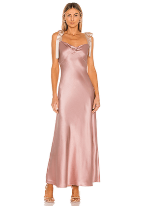 DANNIJO Dress with Bow Tie Straps in Blush. Size M, S, XS.
