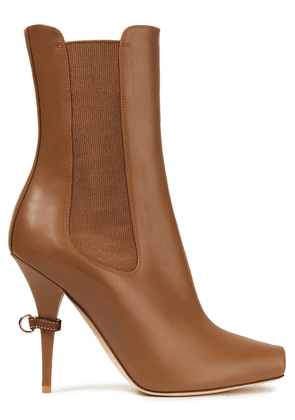 Burberry Leather Ankle Boots Woman Camel Size 35