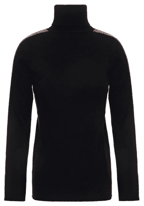 Bella Freud Tinsel-trimmed Embroidered Wool-blend Sweater Woman Black Size XS