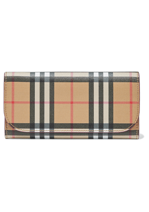 Burberry Checked Coated-canvas Continental Wallet Woman Sand Size --